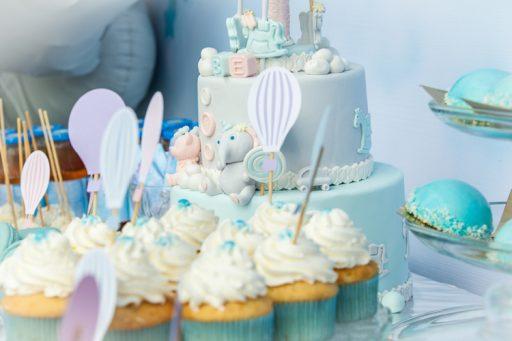 torta rosada y celeste