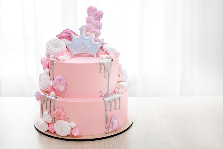 torta fondant rosada plateada